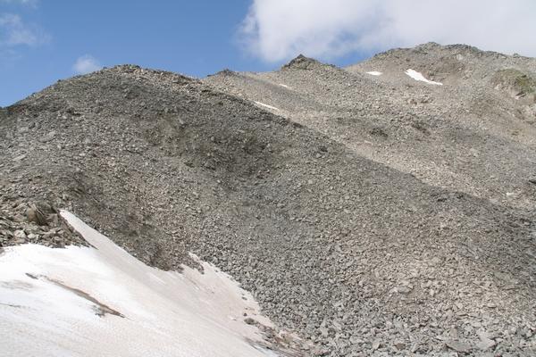 Greben proti vrhu