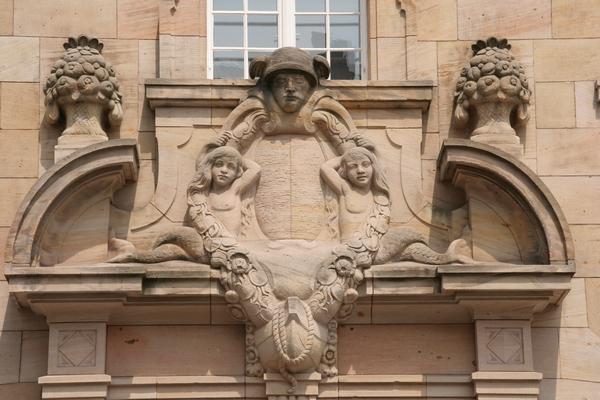 Detajl s poštne stavbe na Wilhelmplatzu
